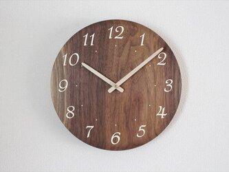 ブラックウォールナットで作った掛け時計 直径30㎝の画像