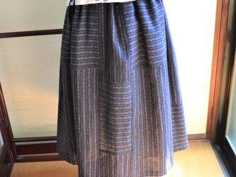 木綿 藍色 縞模様の着物からギャザースカート J-40の画像