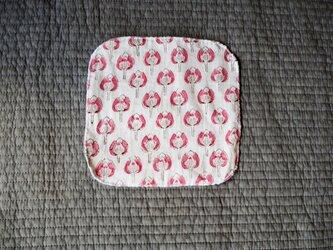ハンドブロックプリント タオルハンカチmini ピンクの画像