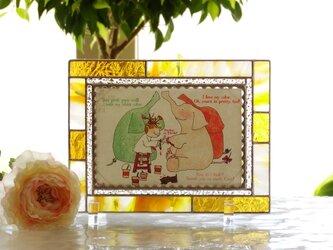 フォトフレーム・シンプル(イエロー&ホワイト&金茶)の画像