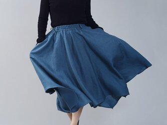 【wafu】中厚 リネン イレギュラーヘムスカート フレアースカート4枚はぎのリネンスカート/ブルーパッセ s002g-bps2の画像