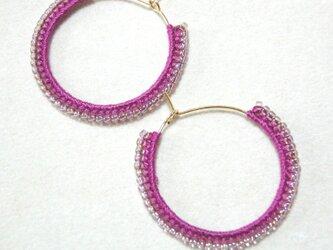 twocolors フープピアス(ラズベリー&キラキラ紫)の画像