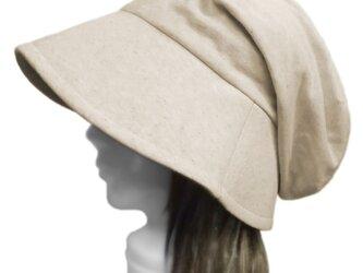 ハーフリネンニット/つば広女優帽子(ゆったり)◆ナチュラルの画像