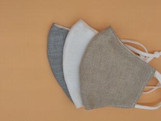 秋いろベージュ❁麻のおしゃれ立体マスク(調節ゴム・ポケット付き)の画像