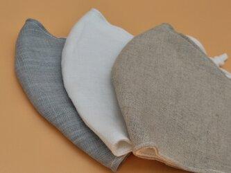 秋いろグレー❁麻のおしゃれ立体マスク(調節ゴム・ポケット付き)の画像