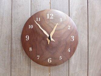 ブラックウォルナットの曲面時計euph 30センチ 001s 文字盤白色の画像
