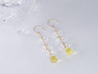 天然石のロングピアス ハーキマーダイヤモンド x レモンクォーツ x 18金YGの画像