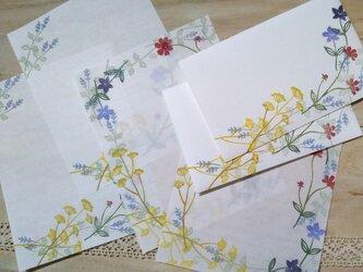 消しゴム版画「コンパクトサイズレターセット(秋の草花)」の画像
