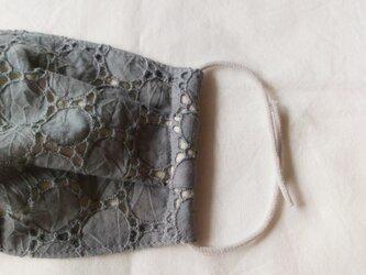 秋冬布マスク 《モンドフィルゴム》グレーサークル刺繍 大人用の画像