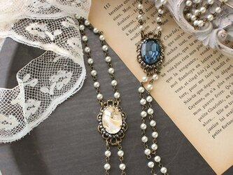 《ショパンの調べに・シリーズ》ヴィンテージ・グラスストーンとガラスパール アンティークスタイル・ネックレスの画像