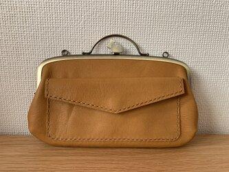 【送料無料】ペコッと押すとパカっと開く、外ポッケが付いたウサギ口金の親子がまぐち長財布の画像
