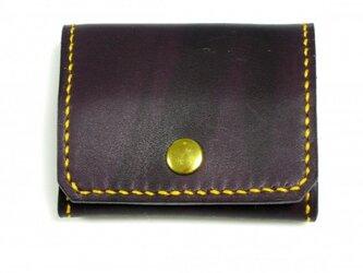 牛革手縫い ボルドー色のコインケースの画像