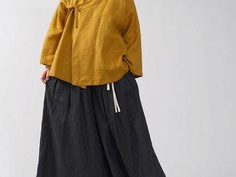 【wafu】中厚 リネン 作務衣 和装 禅 羽織 ラグランスリーブ ベルスリーブ リネン/マスタード h037e-mtd2の画像