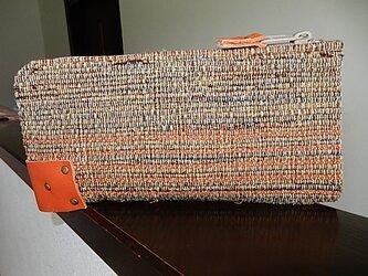 裂き織のL字ファスナーウオレット オレンジの画像
