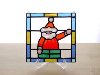 ステンドグラス ミニパネル サンタクロース 15cmの画像