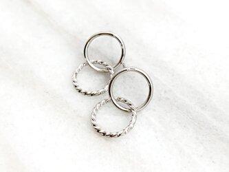 Double Ring Pierce silver n458の画像