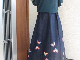 着物リメイク  かわいい柄のフレアー スカート 値引き価格ですの画像