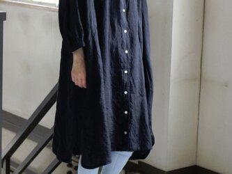 黒LINEN ドロップショルダー ロングシャツ*リトアニアリネンの画像