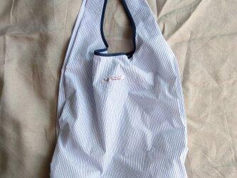 大サイズ・布製レジ袋♡シンプル仕様♡ストライプコットン・71cm×34cmマチ18cm・エコバック・使い勝手◎の画像