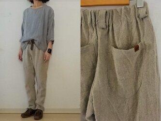 【受注制作】麻ベージュ/極厚リネン ゆるりパンツの画像