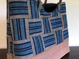 古布大縞と酒袋の手提げ 丸い木の手提げの画像