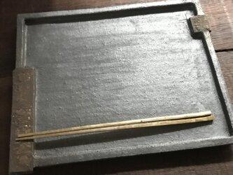 黒釉&黒泥彩掛け分け長角皿(surrounding edge)の画像