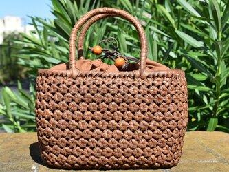 山葡萄(やまぶどう)籠バッグ | 六角花結び編み | 巾着と中布付き |(約)幅24cmx高さ17cmx奥行12cmの画像