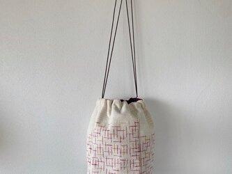 カラフル絣 手織りショルダーバッグ ピンク×オレンジの画像