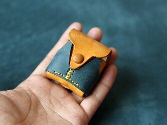 【可愛いベスト】AirPodsケース 黄色+青 本革 ワイヤレスイヤホンケースの画像