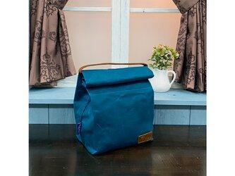 New! パラフィンキャンバス ランチバッグ♪ 防水・保温・保冷 BLUEの画像