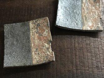 焼締豆皿&箸置き(凹みあり)の画像