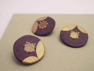 漆花ブローチ「華」古代紫 秋アクセサリー 冬アクセサリー 和風の画像