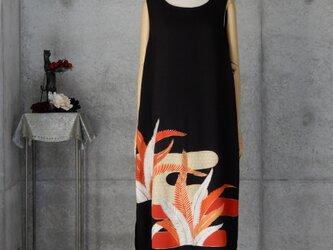 着物リメイク 大正ロマンの黒留ロングドレス/L/ボレロ付きの画像