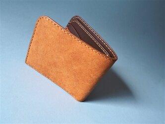 イタリアンレザーの二つ折り財布(キャメル×ブラウン)の画像