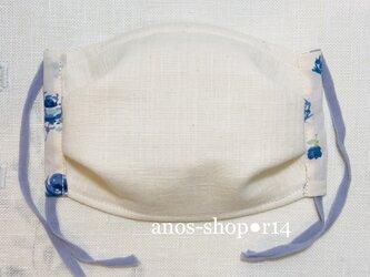 r14●9/5 抗菌マスク(L リバティ生地バラ柄ブルー)の画像