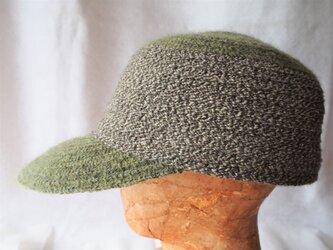 毛糸ブレードツートーンキャップ(グリーン/56㎝)の画像