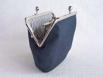 《ぷっくり》カードポケットつき親子がま口(お財布)11号帆布紺色の画像