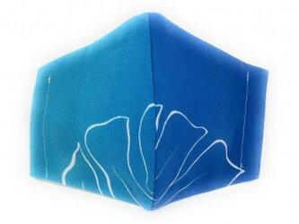 ハワイアン ファッション マスク(3D扇型・蒸れにくい・ファンデーション対策対応) ラウ柄 ブルー Lサイズの画像