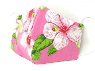 ハワイアン ファッション マスク(3D扇型・蒸れにくい・ファンデーション対策対応) ハイビスカス柄 ピンク Mサイズの画像