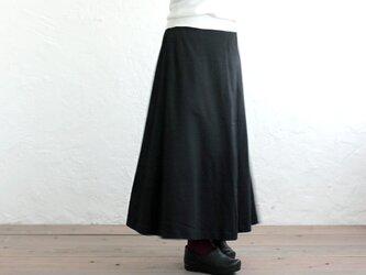 ストレッチコットン マキシ丈フレアスカート (ブラック)の画像