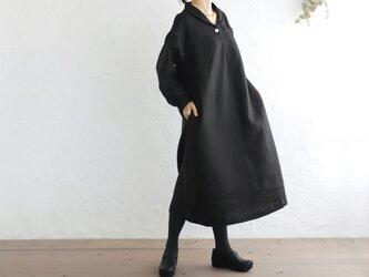 リネン ショールカラー 長袖ワンピース ゆったりAライン (ブラック)OP07の画像