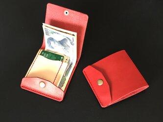 【右開口 カードポケット2 ボルドー】薄型シンプル札ばさみ MC-08vd-R マネークリップ ヌメの画像