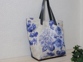 花柄フランスリネン&無地リネントートバックの画像