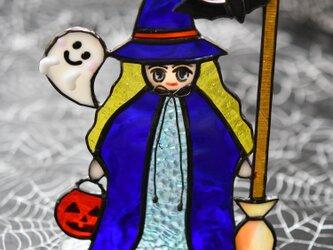ステンドグラス ハロウィン 可愛い魔女さんの画像