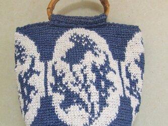 メリヤス細編み編み込み模様トートバッグ アザミの画像