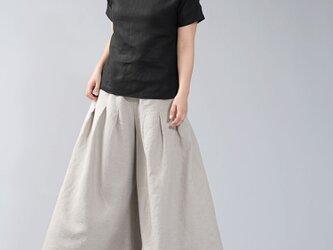【wafu】中厚 リネン Tシャツ 半袖 トップス リネンブラウス ドロップショルダー/ブラック t014a-bck2の画像