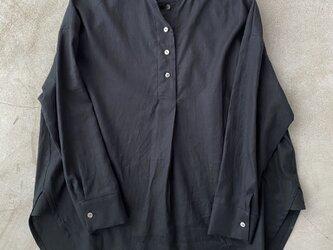 コットンリネンのシャツ ブラック No.134の画像