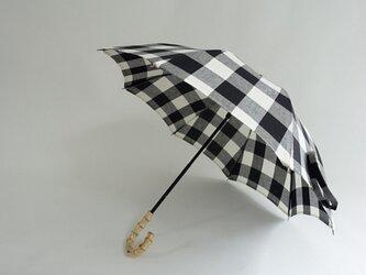 コットンリネン日傘/バンブー持ち手2段階調節<格子柄>の画像