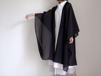 新作・ロング ケープ コート Re_1say / キラキラシフォン ポリエステル 【 黒 格子 】 long cape coatの画像