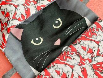 小物入れにもなる にゃん密猫柄マスク用ポーチ06(レッド系)の画像